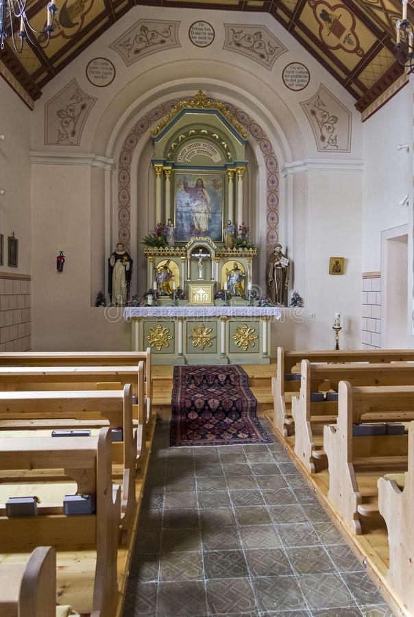The interior of a small chapel royalty free stock photos