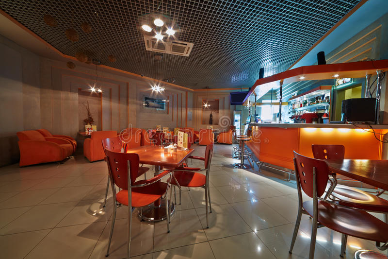 Interior of empty cafe-bar. Interior of small empty cafe-bar stock photography