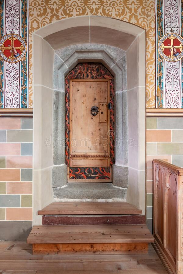 Interior of small gothic chapel royalty free stock photos