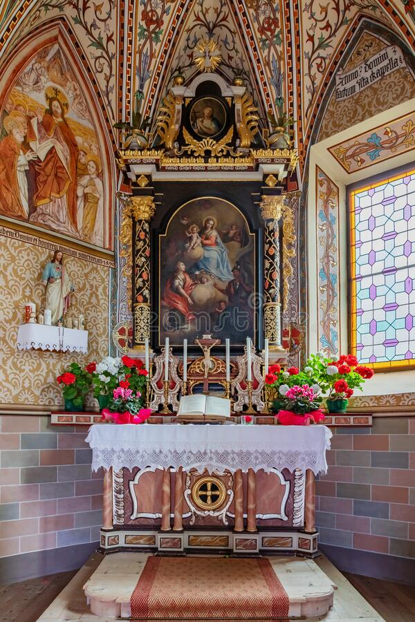Interior of small gothic chapel stock images