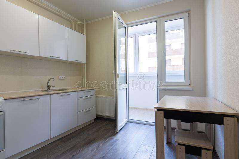 Interior of a small kitchen for rent stock images