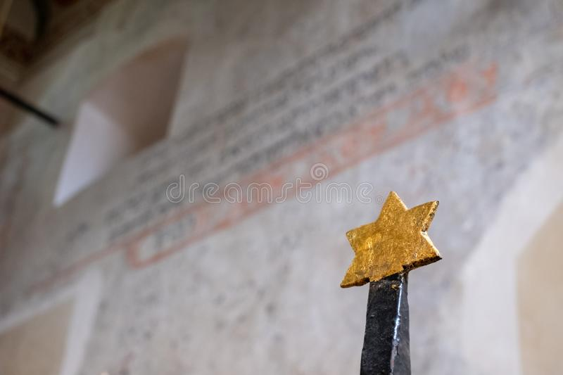Interior of the small Remuh / Remah Synagogue on Szeroka Street in Kazimierz, the historic Jewish quarter of Krakow, Poland. Showing  Star of David, the symbol stock images