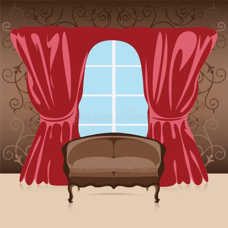 Interior, sofá en el cuarto ilustración del vector