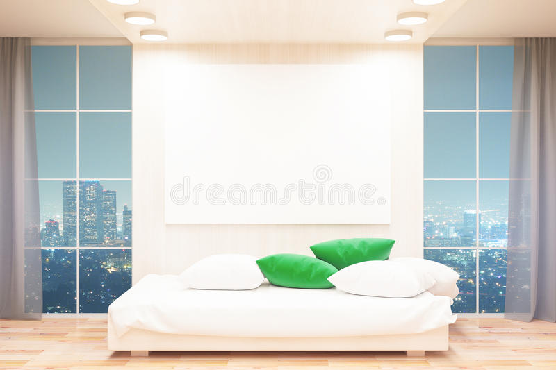 Interior with sofa and banner. Light wooden interior with sofa, cushions, blank banner and illuminated night city view. Mock up, 3D Rendering vector illustration