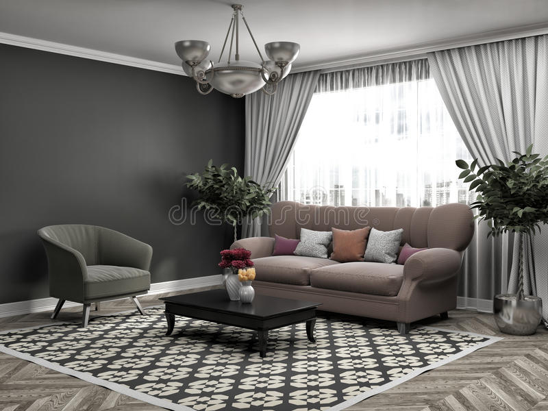 Interior with sofa. 3d illustration royalty free illustration