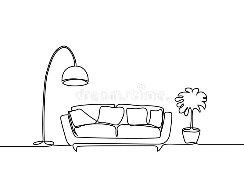 Interior with sofa, floor lamp and plant. royalty free illustration