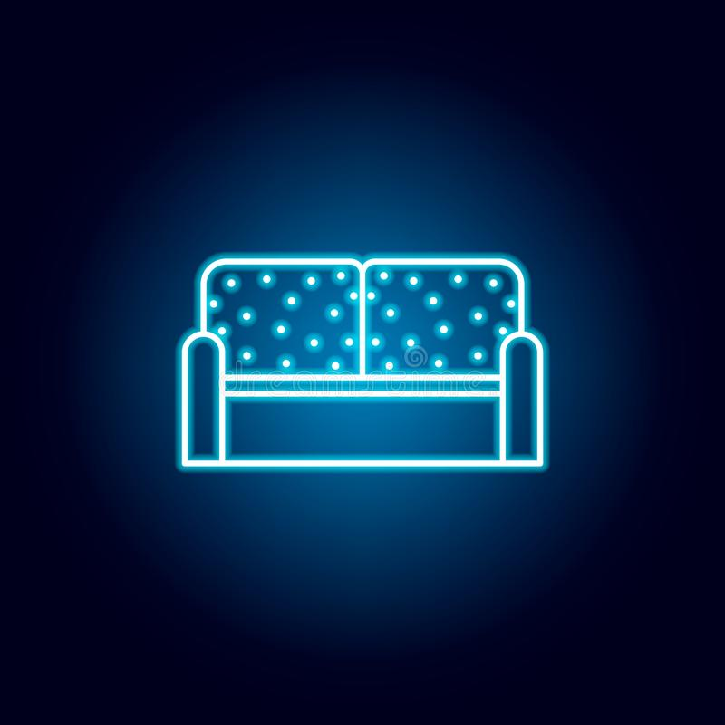 interior, sofa, furniture outline icon in neon style. signs and symbols can be used for web, logo, mobile app, UI, UX royalty free illustration