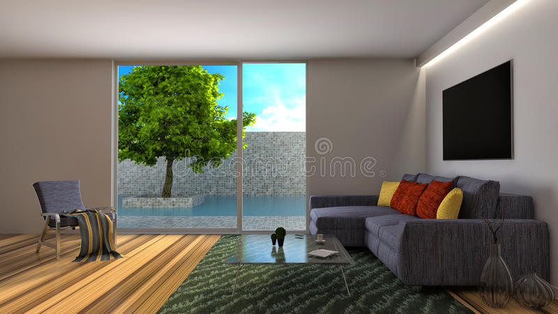 Interior with a sofa and a pool outside. 3d illustration stock illustration