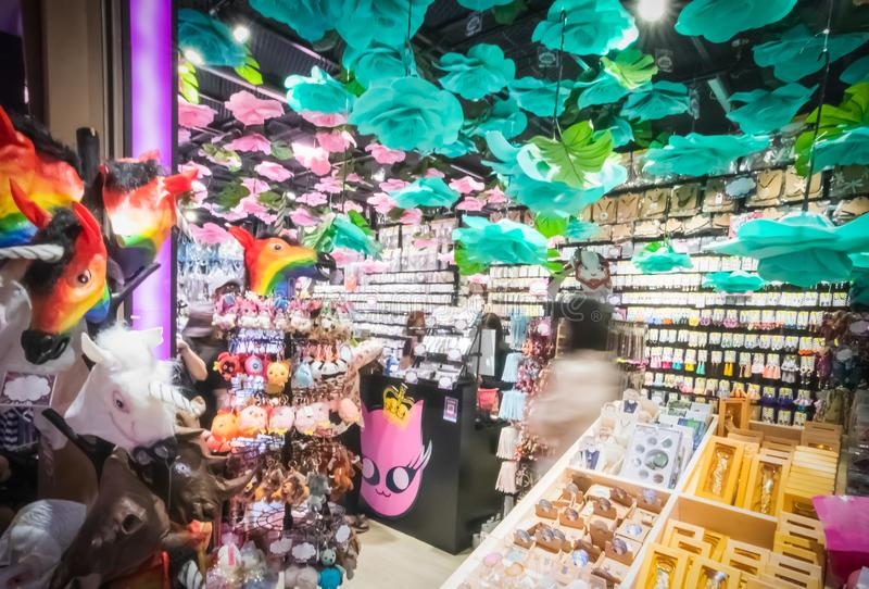 Sale of objects of arts and crafts in souvenir shops in Terminal 21 Department Store. At Asoke Montri intersection Sukhumvit road Bangkok Thailand, April 17 stock photography
