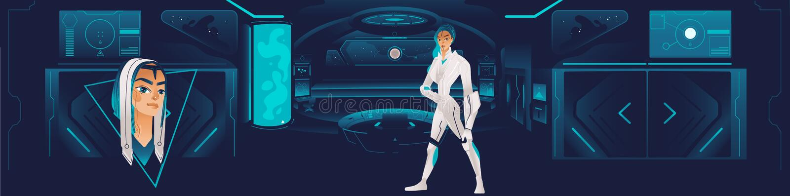 The interior of the spaceship with a futuristic girl or a woman from the crew. stock illustration