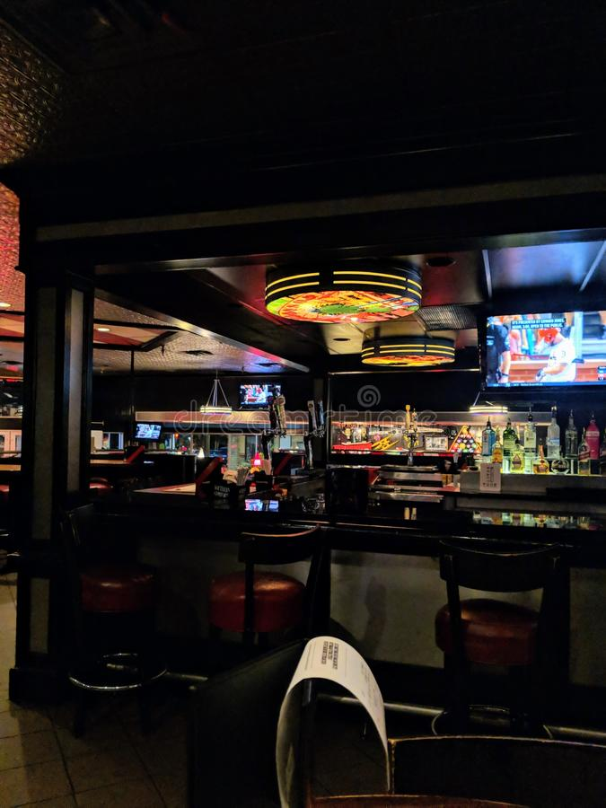Interior of sports bar stock images