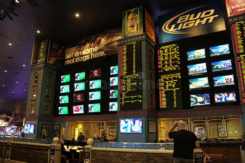 Interior of sports book gambling. stock images