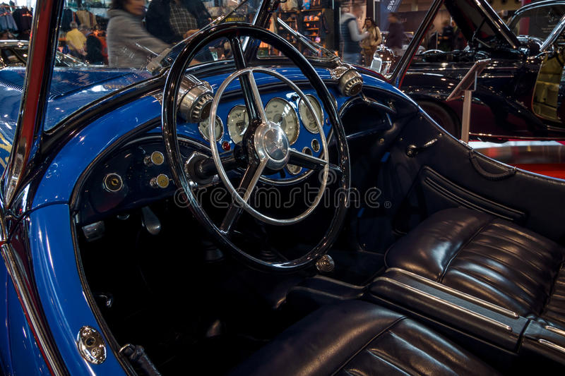 Interior of a sports car Wanderer W25K Roadster, 1936. STUTTGART, GERMANY - MARCH 02, 2017: Interior of a sports car Wanderer W25K Roadster, 1936. Europe`s royalty free stock images