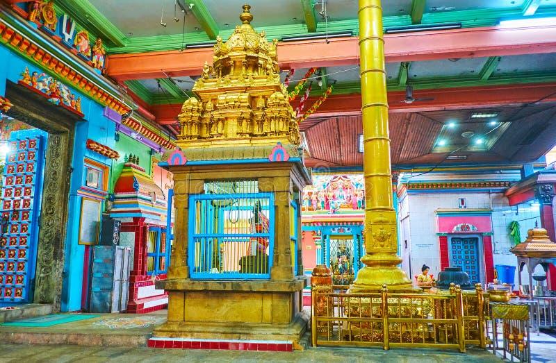 Interior of Sri Varatha Raja Perumal Hindu Temple, Yangon, Myanmar. YANGON, MYANMAR - FEBRUARY 15, 2018: The ornate interior decoration of historic Sri Varatha stock photo