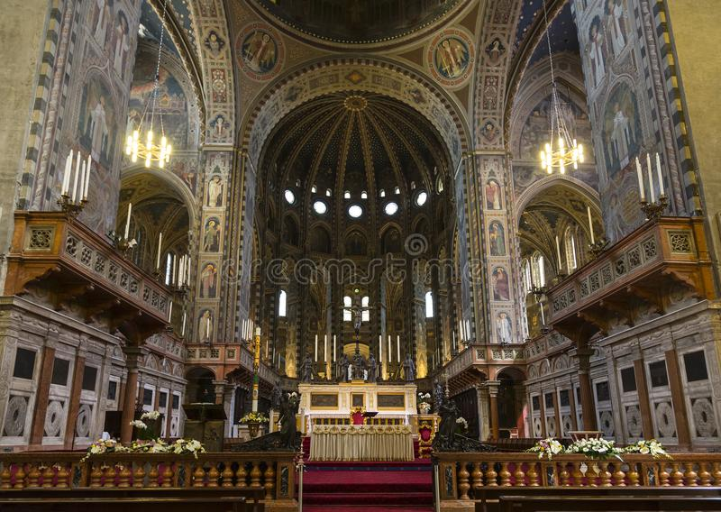 The interior of St. Anthony`s Basilica is a Catholic church in the city of Padua, an architectural monument, the main center of ve. Neration of St. Anthony of stock image