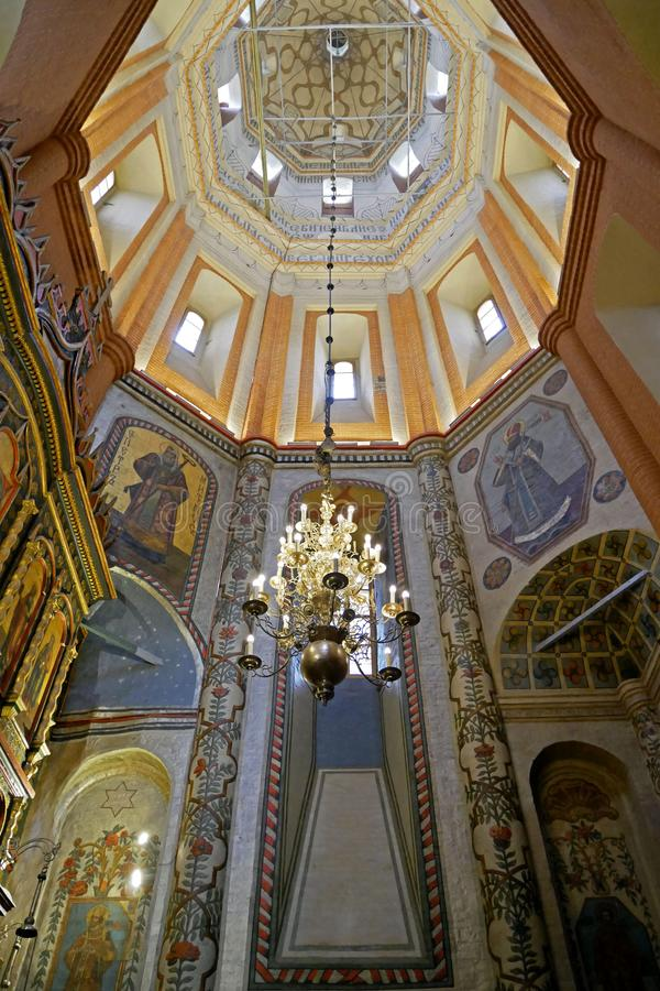 Interior of St. Basil`s Cathedral on Red square, Moscow, Russia. royalty free stock photography