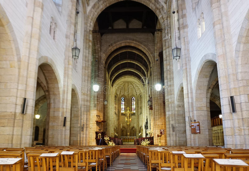 Interior of the St Georges Cathedral in Cape Town. Cape Town, South Africa - 29 September,2016 : interior of the St Georges Cathedral in Cape Town on 29 stock photography