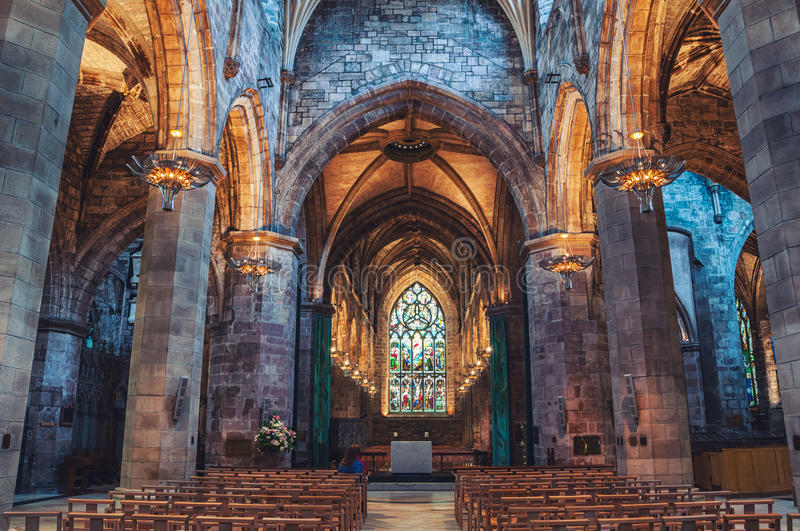 Interior of St Giles Cathedral in Edinburgh royalty free stock photos