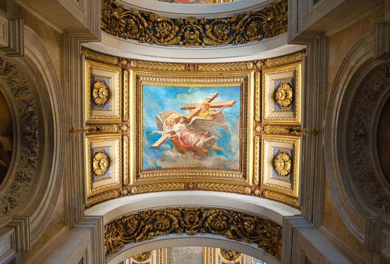 Interior of the St Isaacs Cathedral, St Petersburg, Russia - ceiling ornated with Bible paintings stock image