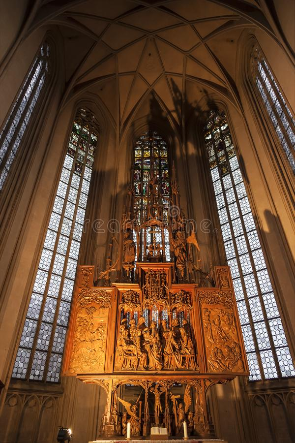 Interior of St. James Church in Rothenburg Ob der Tauber, wooden behind the altar the image of the ` Holy Blood`. Bavaria, royalty free stock images