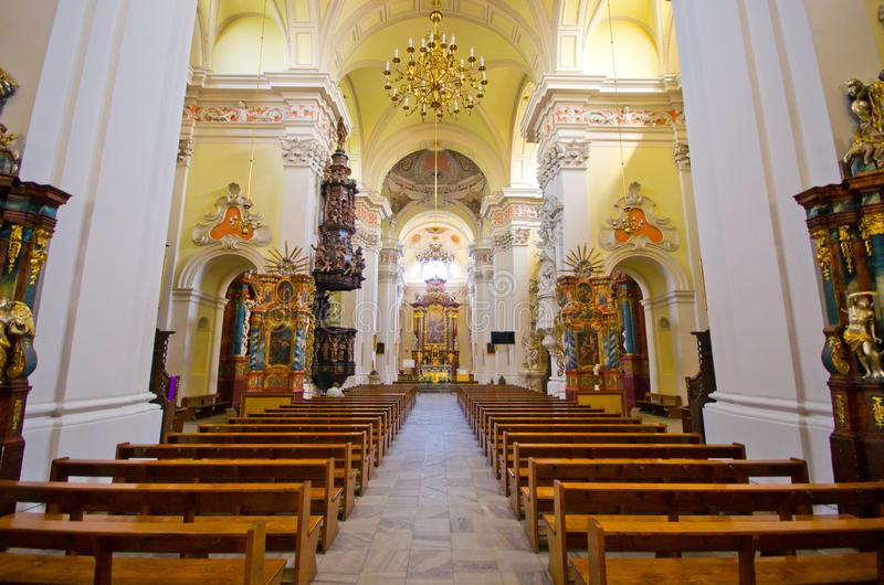 Interior of St. Nicholas Church in Leszno, Poland. Leszno, Poland - June 19, 2016: interior of church. St. Nicholas Church ? Catholic, in the 16th and 17th stock photo