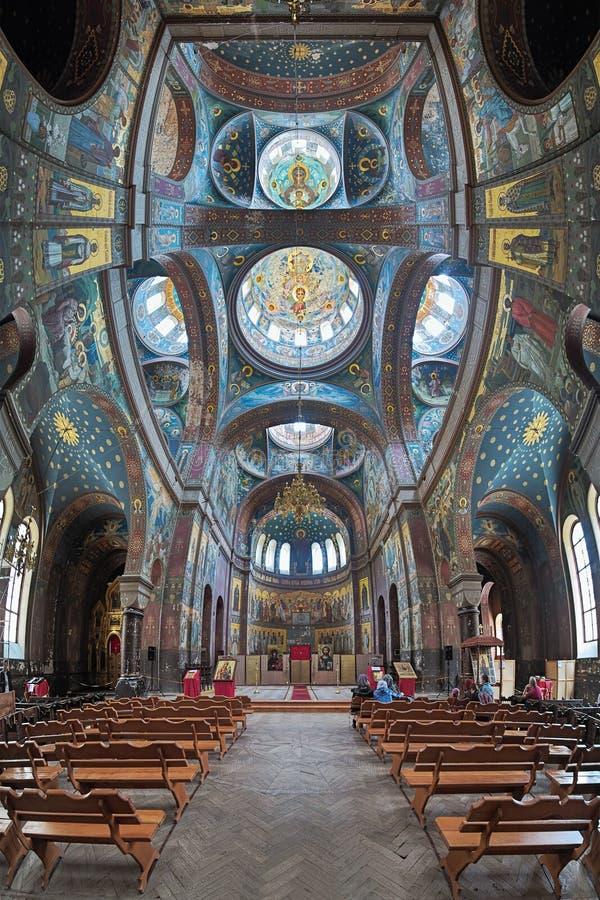 Interior of St. Panteleimon Cathedral in New Athos Monastery, Abkhazia stock photos
