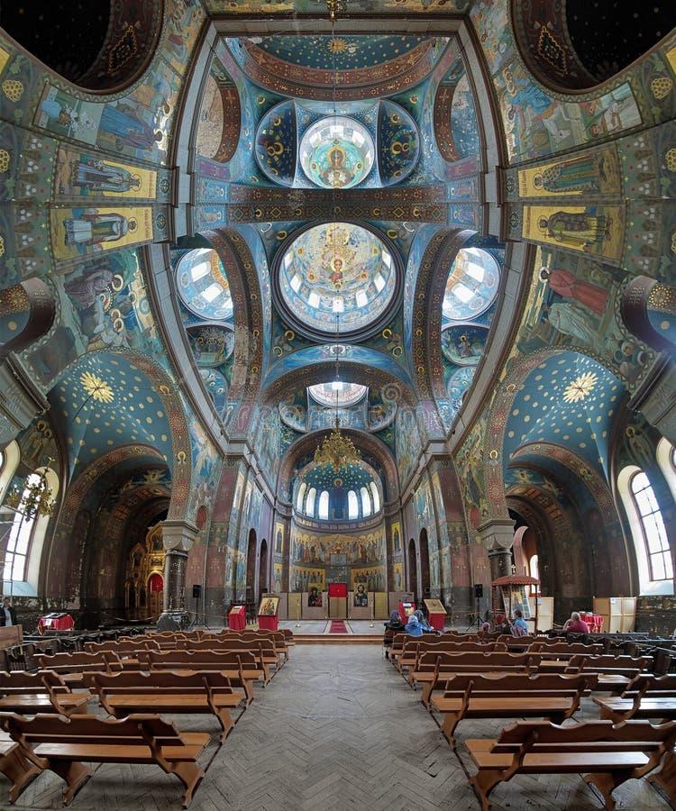 Interior of St. Panteleimon Cathedral in New Athos Monastery stock photos