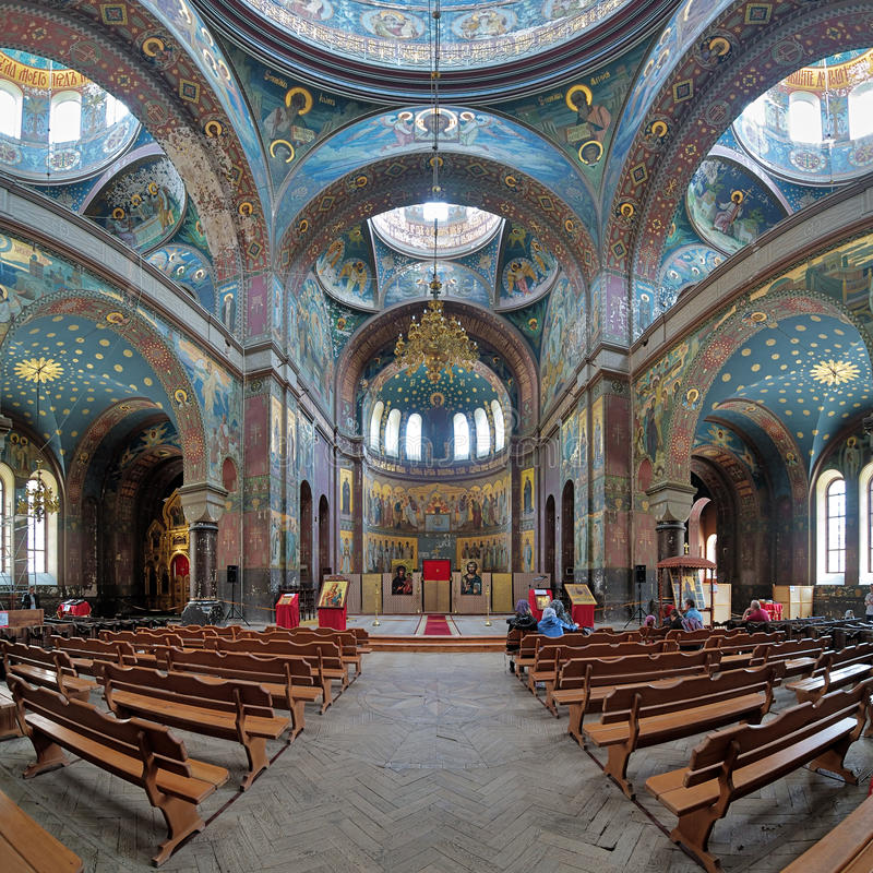 Interior of St. Panteleimon Cathedral in New Athos Monastery royalty free stock image