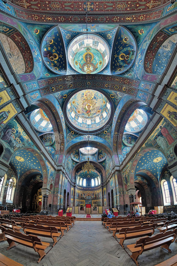Interior of St. Panteleimon Cathedral in New Athos Monastery royalty free stock images