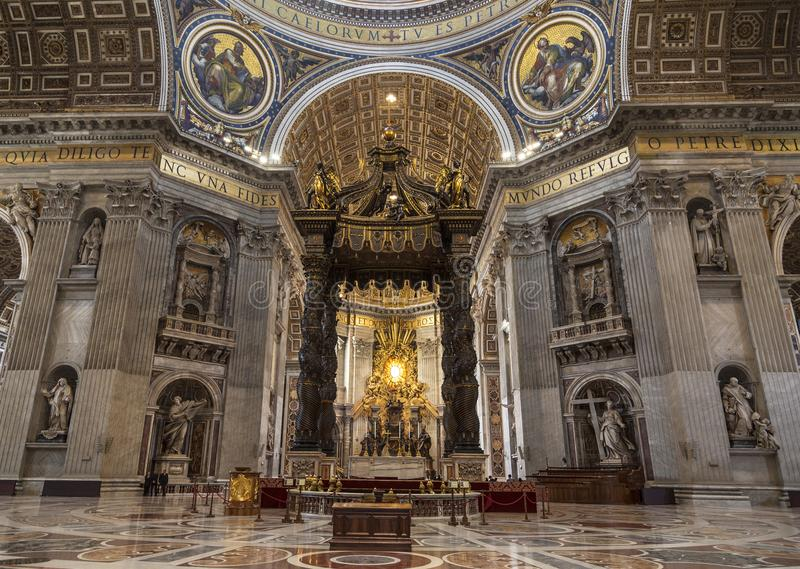 The Interior Of St. Peter`s Basilica In The Vatican. Baroque Canopy Over  The Altar, Above The Canopy Rises A Department Dedicated To St. Peter,  Created By ...