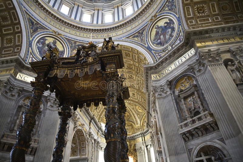Interior of St Peter`s Basilica in the Vatican City in Rome Italy stock photo