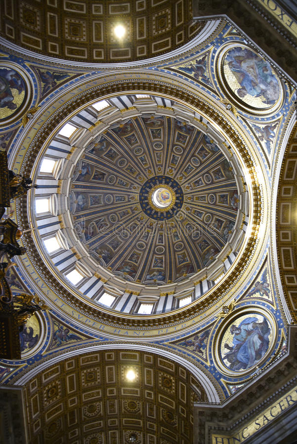 Interior of St Peter`s Basilica in the Vatican City in Rome Italy royalty free stock photography