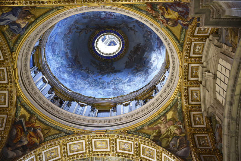 Interior of St Peter`s Basilica in the Vatican City in Rome Italy royalty free stock photos