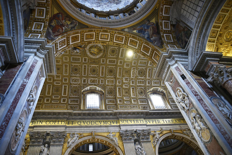 Interior of St Peter`s Basilica in the Vatican City in Rome Italy royalty free stock photo