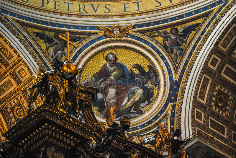 Interior of St Peters Basilica one of the holiest Catholic in Vatican City. The Interior of St Peters Basilica one of the holiest Catholic in Vatican City stock photography