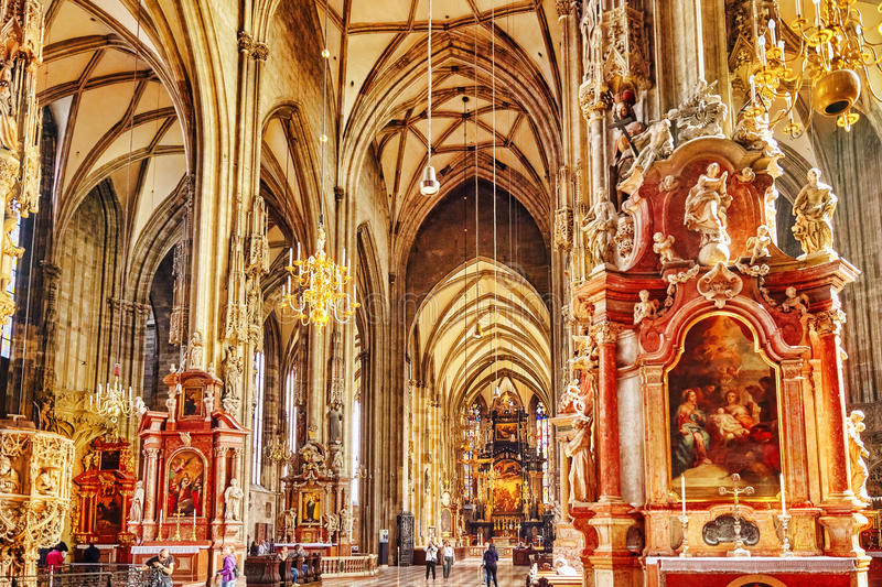 Interior St. Stephen's Cathedral(Stephansdom) royalty free stock images