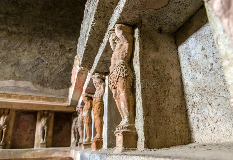 Interior of Stabian baths in Pompeii stock photos