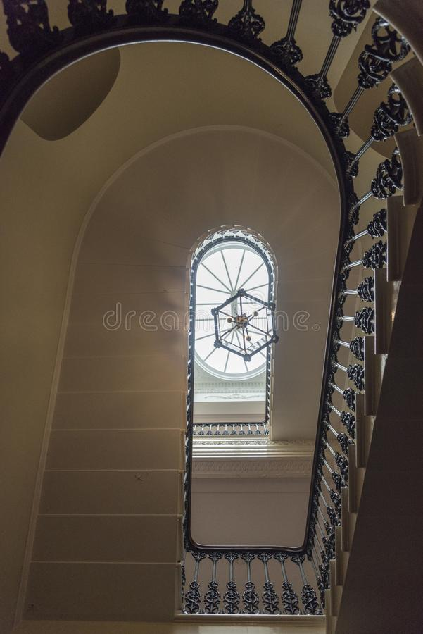 Interior staircase Osborne house. Osborne House is a former royal residence in East Cowes, Isle of Wight, United Kingdom. The house was built between 1845 and royalty free stock images