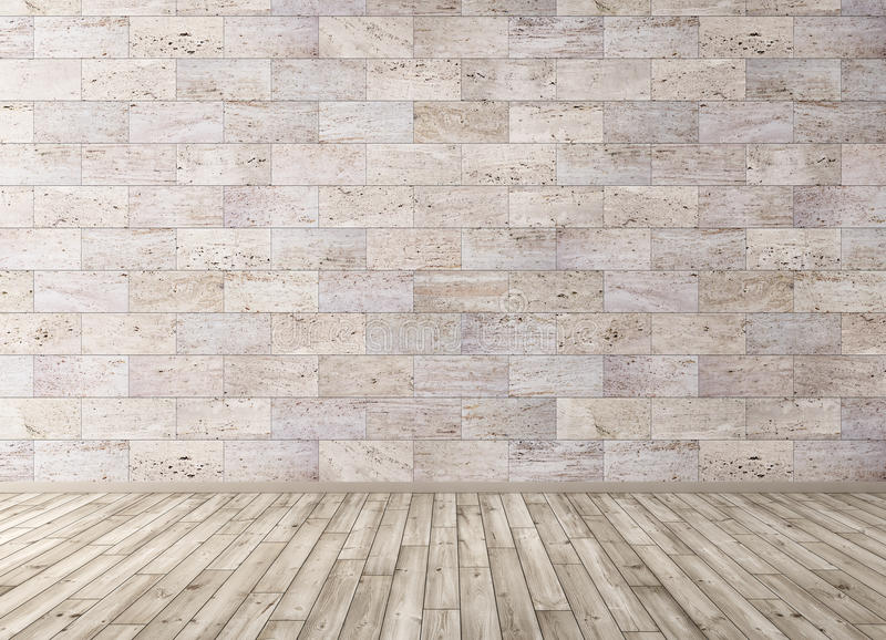 Download Interior With Stone Tiles Wall And Wooden Floor 3d Render Stock Illustration