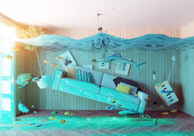 Interior subaquático da inundação ilustração stock