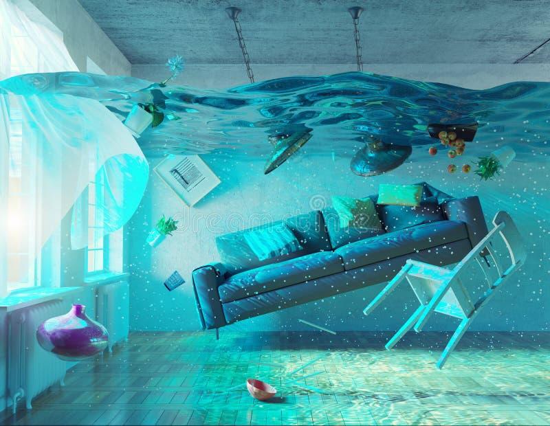 Interior subaquático da inundação