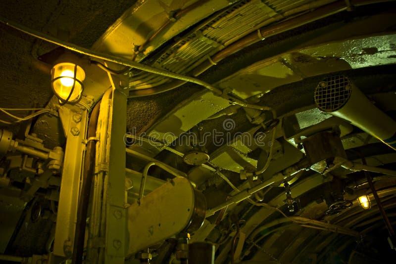Interior submarino imagem de stock
