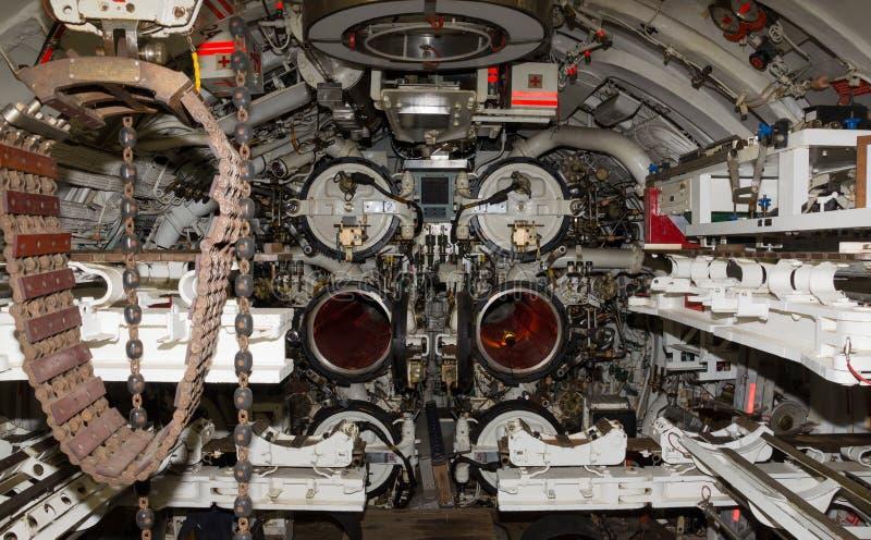 Interior submarino do Otus do HMS fotografia de stock