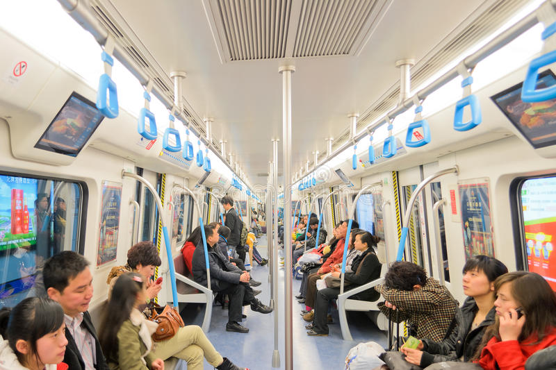 Interior of subway train stock photography