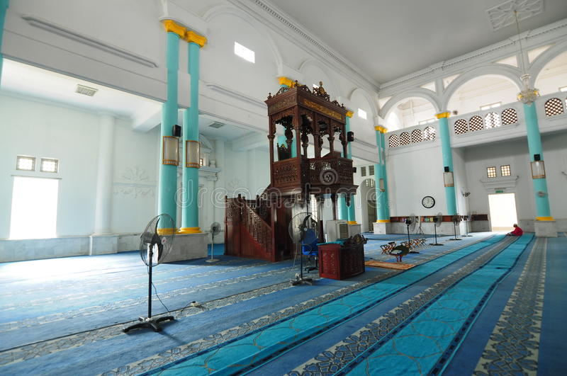 Interior of Sultan Ismail Mosque in Muar, Johor, Malaysia. JOHOR, MALAYSIA – JANUARY, 2014: Sultan Ismail Mosque also known as Muar 2nd Jamek Mosque stock image