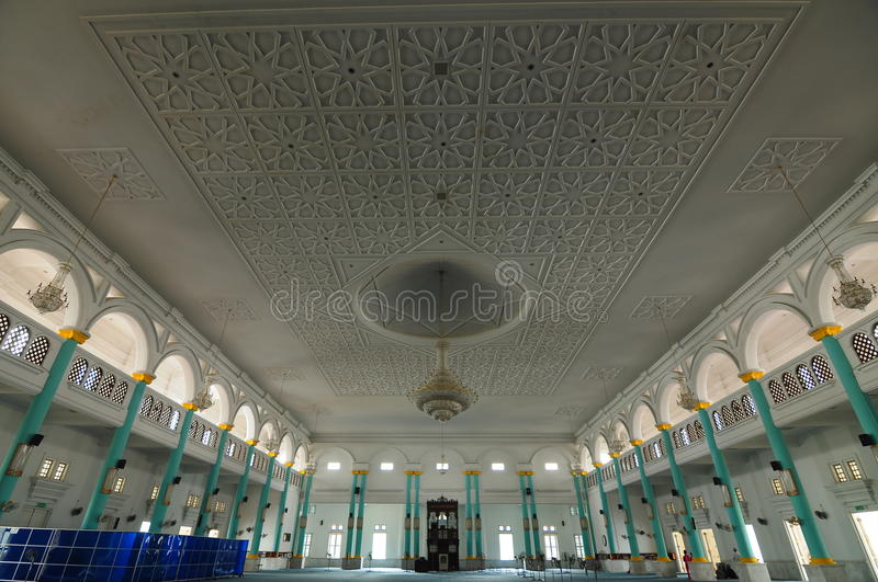 Interior of Sultan Ismail Mosque in Muar. JOHOR, MALAYSIA – JANUARY, 2014: Sultan Ismail Mosque also known as Muar 2nd Jamek Mosque is next to Tanjung royalty free stock images