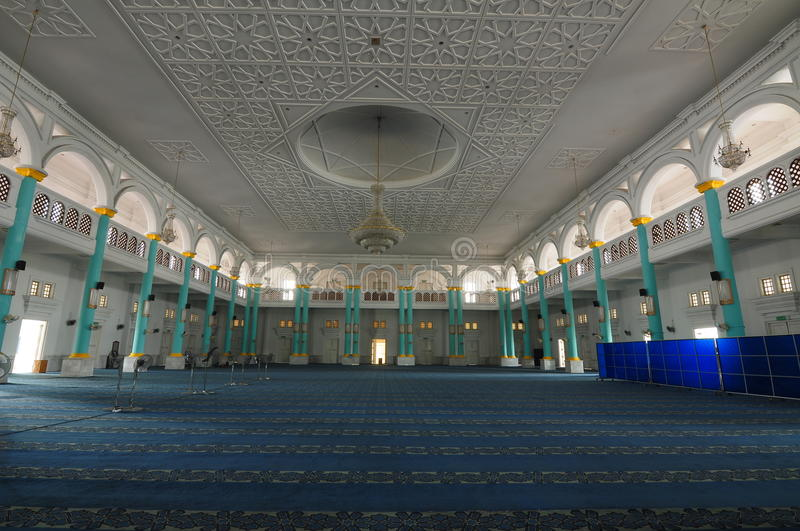 Interior of Sultan Ismail Mosque in Muar. JOHOR, MALAYSIA – JANUARY, 2014: Sultan Ismail Mosque also known as Muar 2nd Jamek Mosque is next to Tanjung royalty free stock image