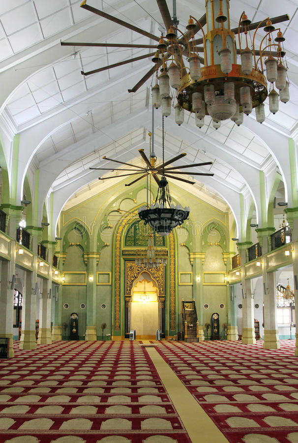 Interior of Sultan Mosque, Singapore stock photo