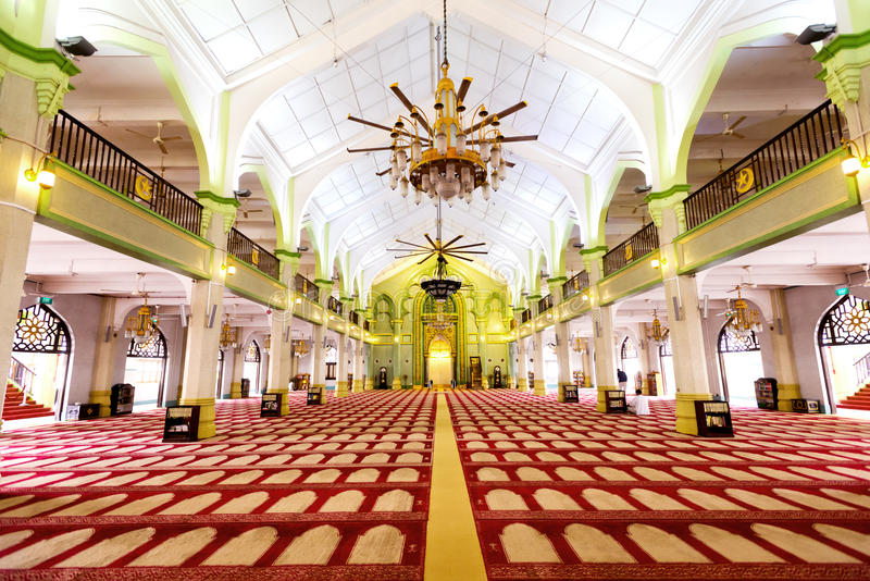 Interior of the Sultan Mosque in Singapore royalty free stock image