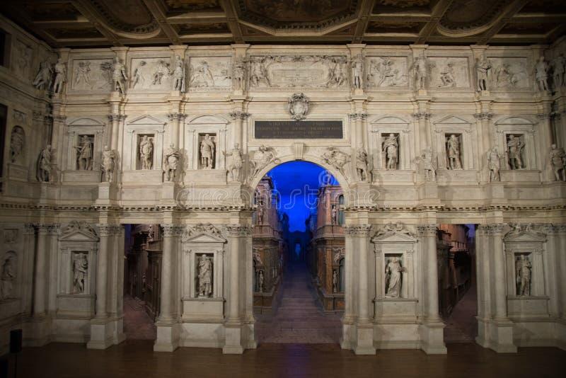 Interior of Teatro Olimpico, Vicenza, Veneto, Italy stock photos